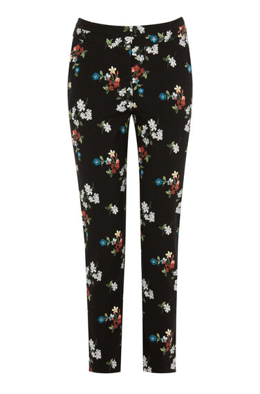 Warehouse, SPACED FLORAL SLIM TROUSERS Black 0