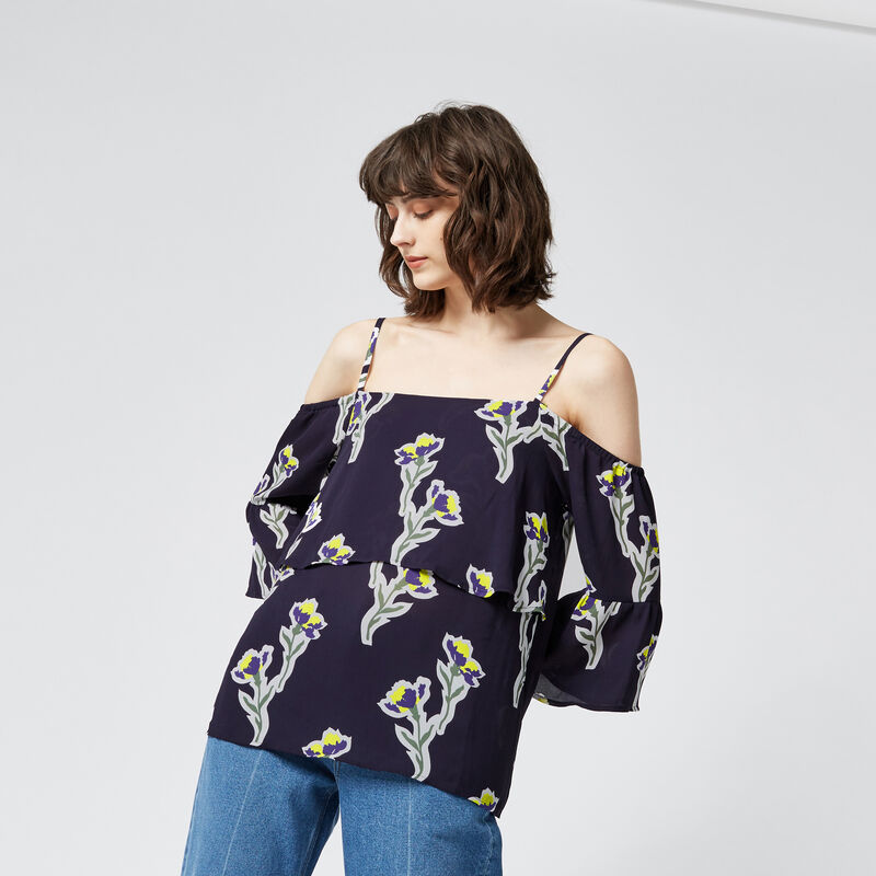 Warehouse, IRIS COLD SHOULDER TOP Navy 1