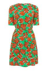 Warehouse, WOODBLOCK DAISY FLIPPY DRESS Green Print 0