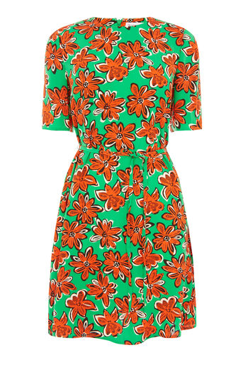 Warehouse, WOODBLOCK DAISY FLIPPY DRESS Green Print 0