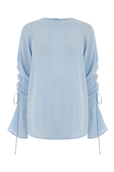 Warehouse, RUCHED LONG SLEEVE TOP Light Blue 0