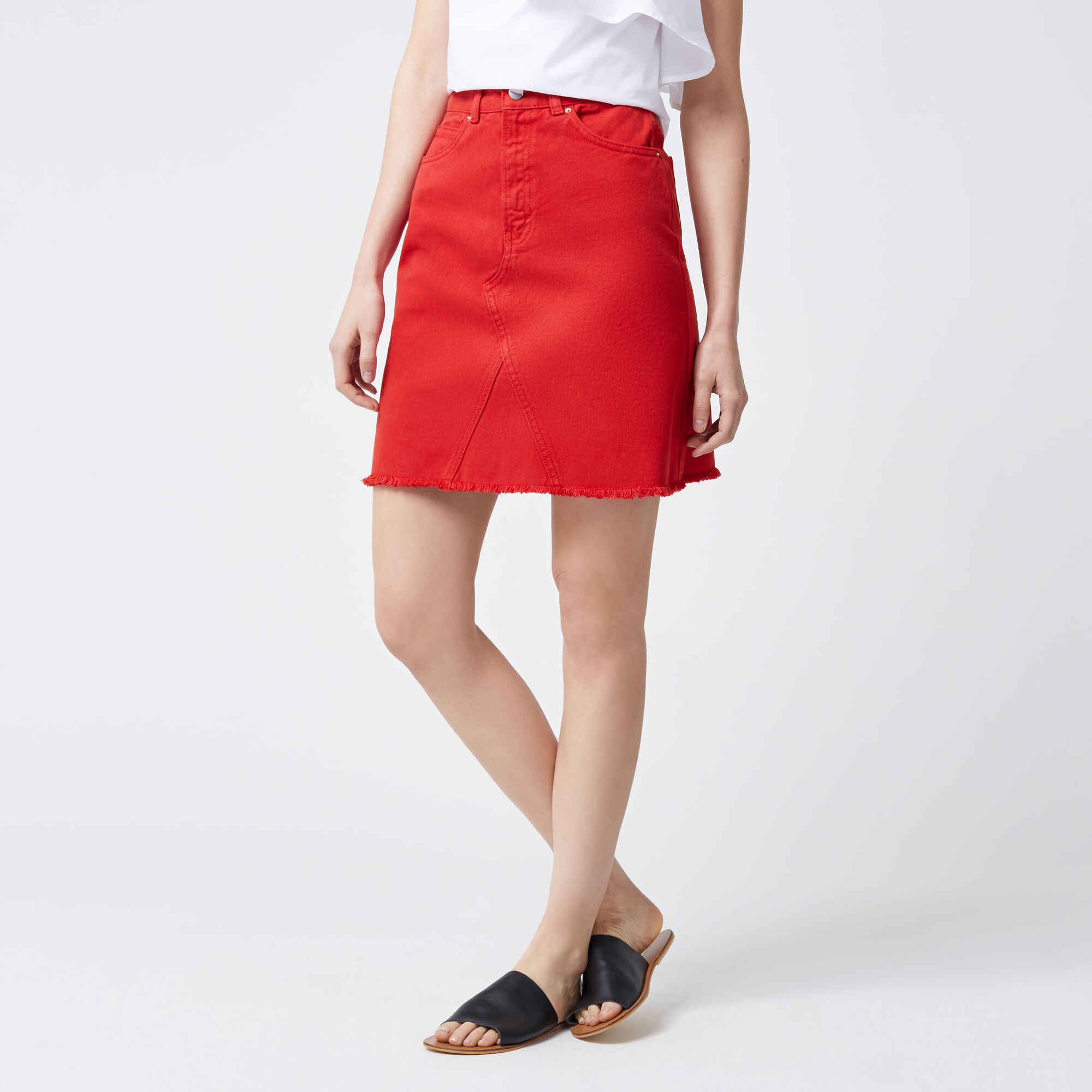 Warehouse, Reconstructed Denim Skirt Bright Red 1