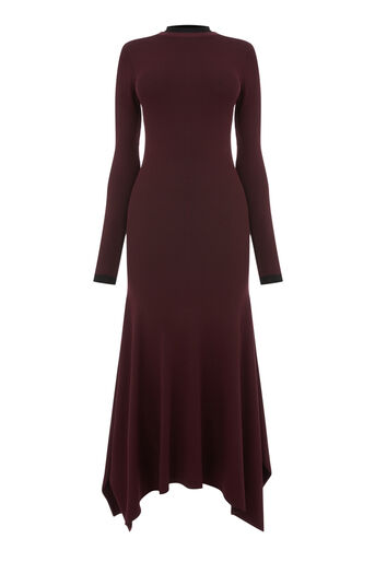 Warehouse, DOUBLE COLLAR FLARE MAXI DRESS Berry 0