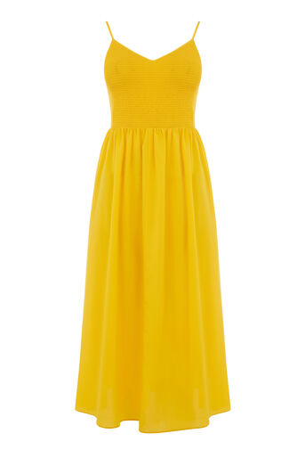 Warehouse, SMOCK BODICE CAMI DRESS Yellow 0