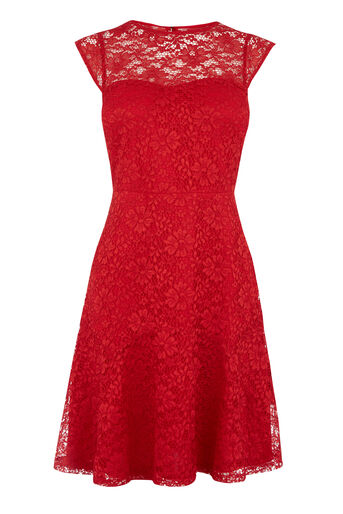 Warehouse, Kanten jurk met hartvormige hals Helderrood 0