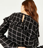 Warehouse, CHECK RUFFLE DETAIL TOP Black Pattern 4