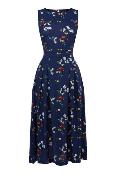 Warehouse, Spaced Floral Midi Dress Blue Pattern 0