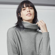 Warehouse, RIB DETAIL ROLL NECK DRESS Dark Grey 4