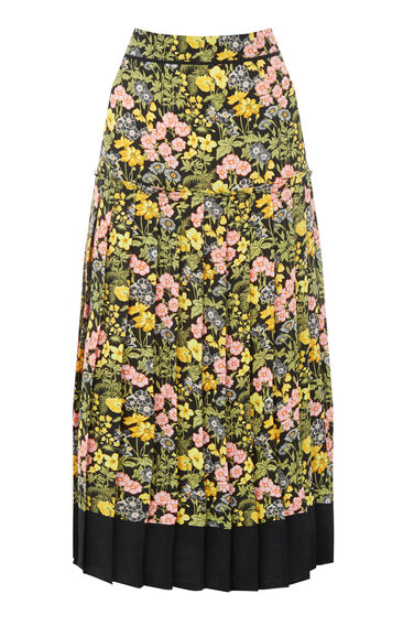 Warehouse, GARDEN POSY PLEATED SKIRT Black Pattern 0