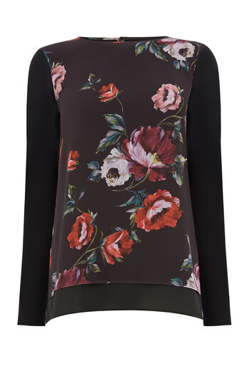 Warehouse, COUNTRY ROSE WOVEN FRONT TOP Black Pattern 0