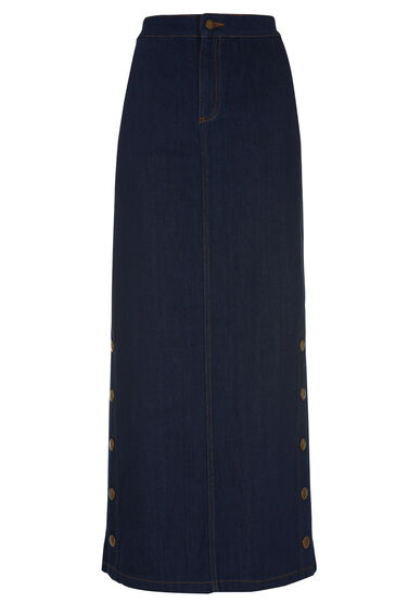 Warehouse, Denim Popper Maxi Skirt Indigo Denim 0