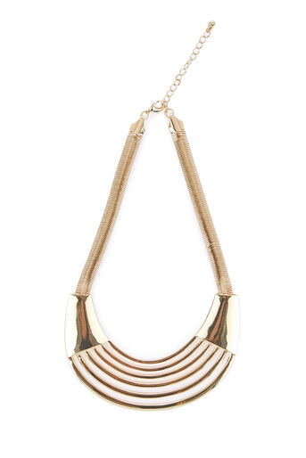 Warehouse, STATEMENT PLATE NECKLACE Gold Colour 0