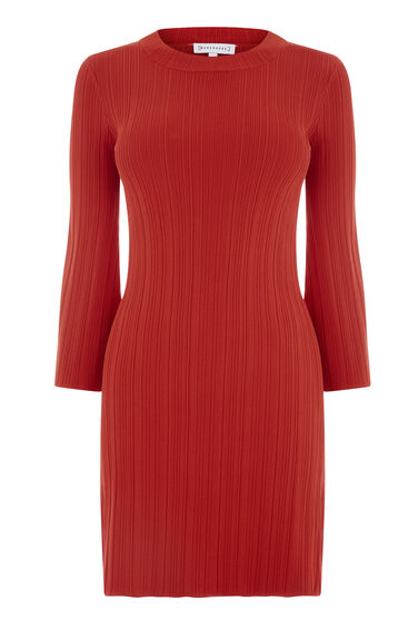 Warehouse, MULTI RIB FLUTED SLEEVE DRESS Bright Red 0