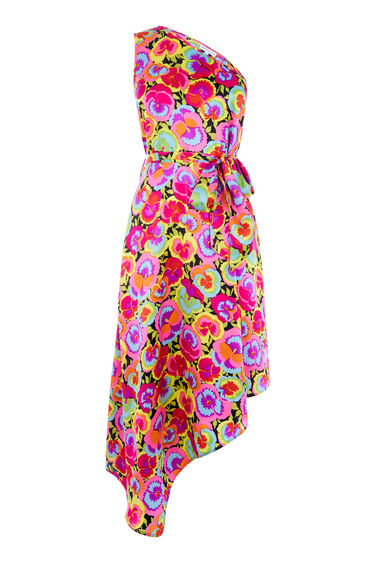Warehouse, PANSY POP SILK DRESS Multi 0