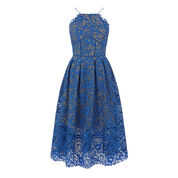 Warehouse, LACE HALTER DRESS Bright Blue 0