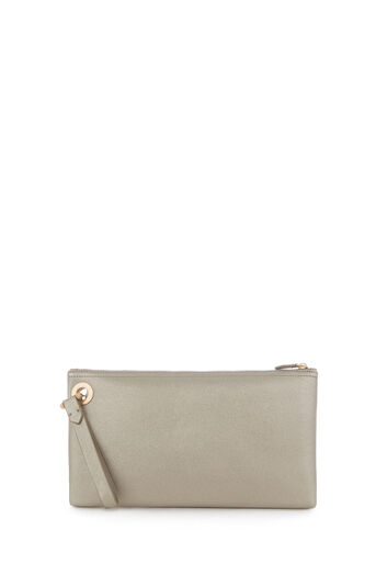 Warehouse, EYELET DETAIL CLUTCH BAG Silver Colour 0