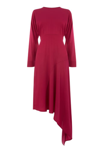 Warehouse, ASYMMETRIC MIDI DRESS Dark Pink 0