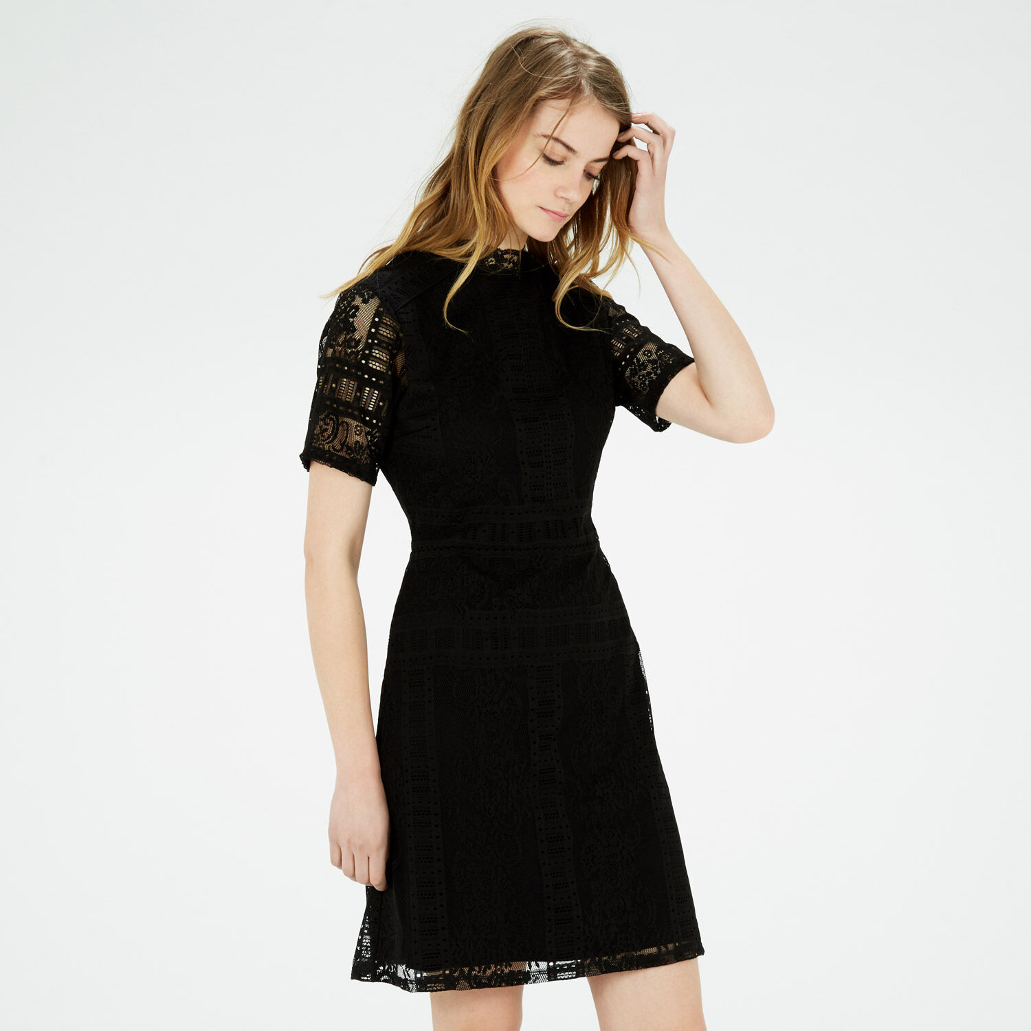 Warehouse, VICTORIANA A LINE DRESS Black 1