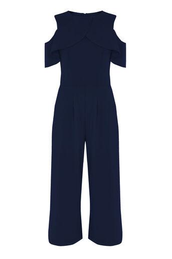 Warehouse, Jumpsuit met laag van crêpe Marineblauw 0