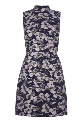Warehouse, FLORAL JACQUARD SHIFT DRESS Multi 0
