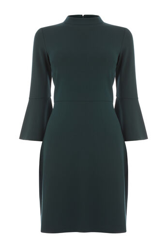 Warehouse, HIGH NECK PONTE DRESS Dark Green 0