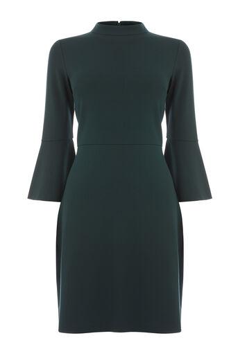Warehouse, HIGH NECK PONTE DRESS Dark Green 0