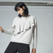 Warehouse, RUFFLE SWEAT Light Grey 1