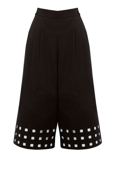 Warehouse, Square Cutwork Culotte Black 0
