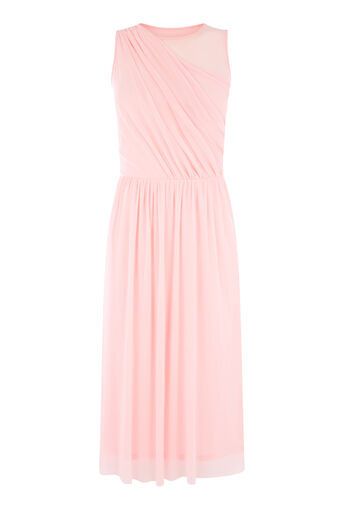 Warehouse, OCCASION MESH WRAP DRESS Bright Pink 0