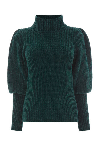 Warehouse, CHENILLE PUFF SLEEVE JUMPER Dark Green 0