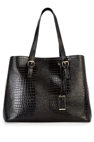 Warehouse, Double Buckle Detail Tote Bag Black Pattern 0
