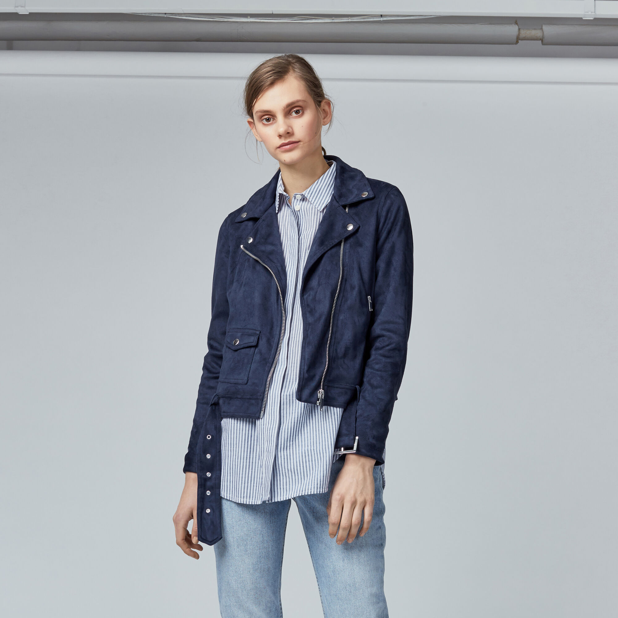 Warehouse, Suedette Crop Biker Jacket Navy 1