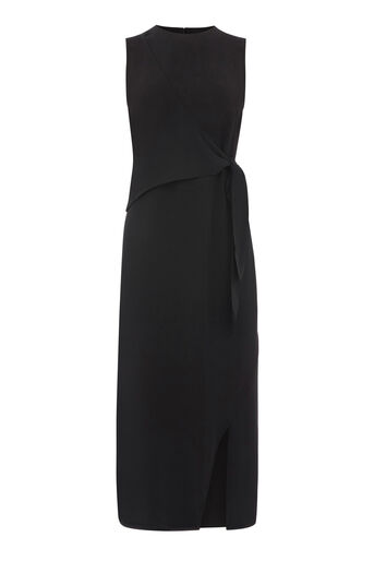 Warehouse, SLEEVELESS WRAP MIDI DRESS Black 0