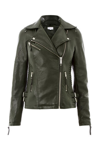 Warehouse, Faux Leather Biker Jacket Khaki 0
