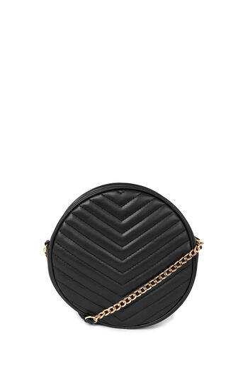 Warehouse, QUILTED CIRCLE CROSSBODY BAG Black 0