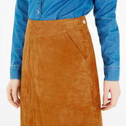 Warehouse, Suede Midi Skirt Tan 4