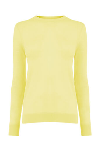 Warehouse, WOOL CREW JUMPER Lemon 0