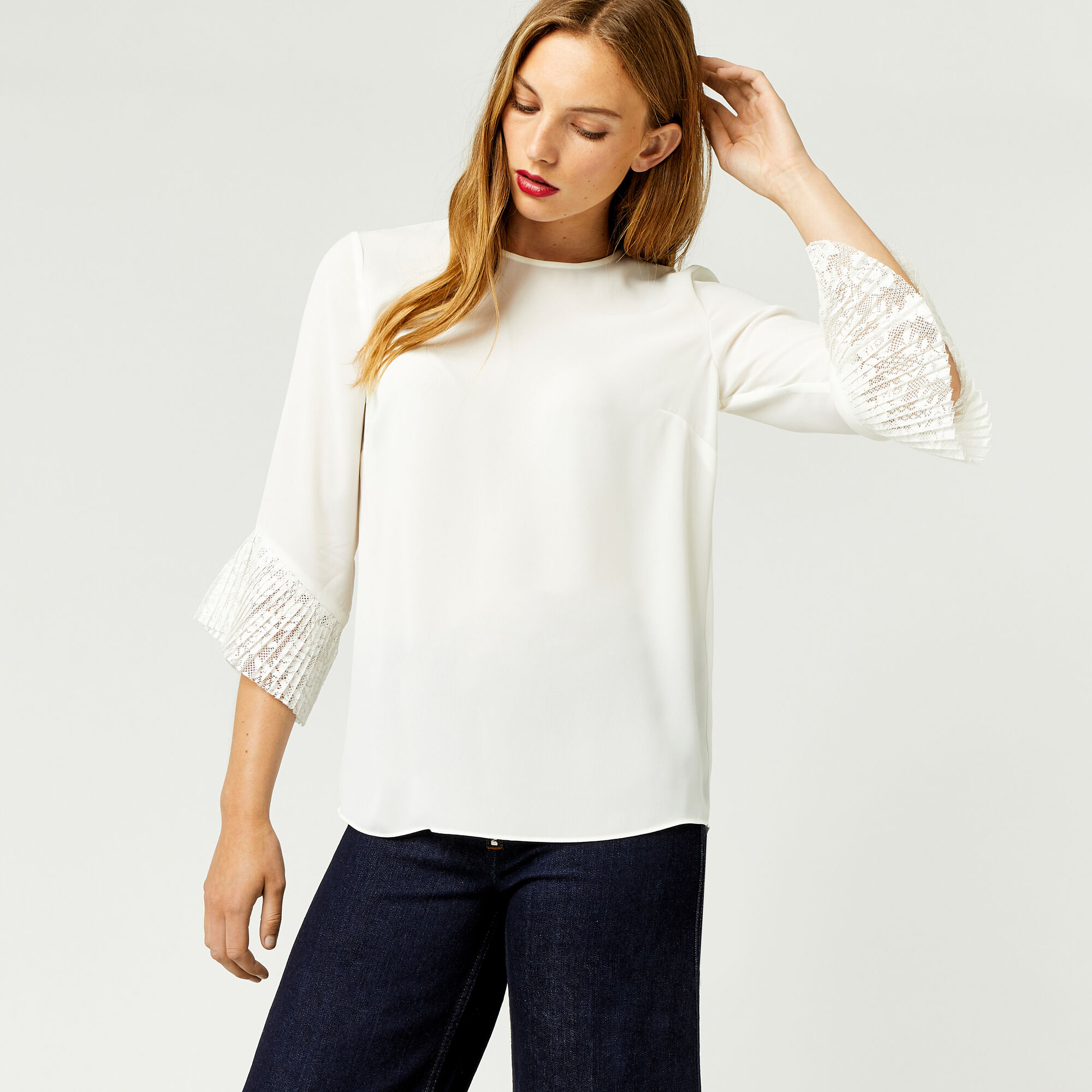 Warehouse, LACE CUFF TOP Cream 1
