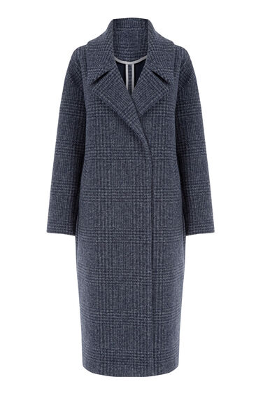 Warehouse, Oversized Check Coat Navy 0