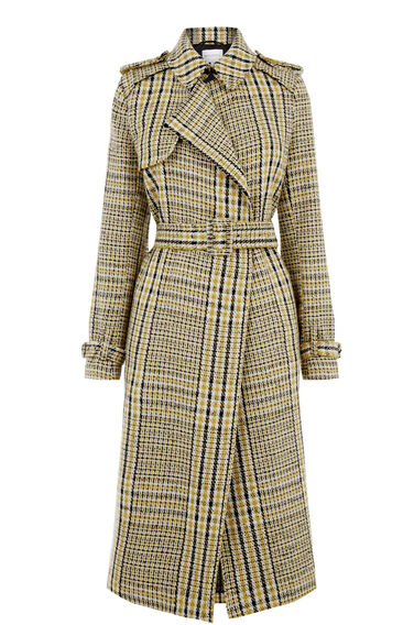 Warehouse, Checked Belted Trench Coat Multi 0