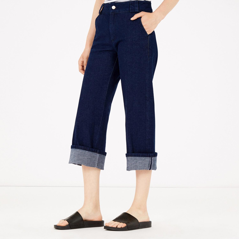 Warehouse, Wide Leg Crop Jean Indigo Denim 1