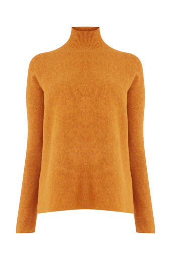 Warehouse, BOXY FUNNEL RIB JUMPER Orange 0