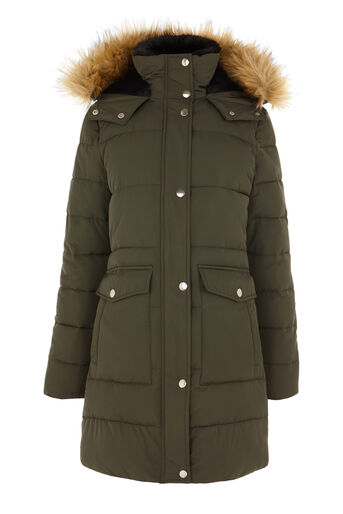 Warehouse, Fitted Wadded Coat Khaki 0