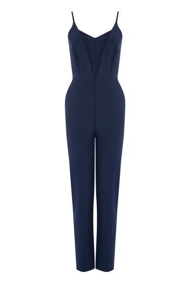 Warehouse, PLUNGE NECK JUMPSUIT Navy 0