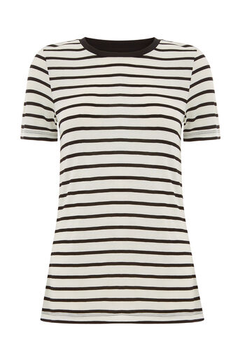 Warehouse, SMART STRIPE TEE Black Stripe 0