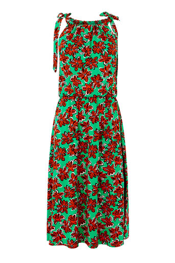 Warehouse, WOODBLOCK PRINT DRESS Green Print 0