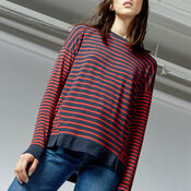 Warehouse, RIB HEM STRIPE TOP Red Stripe 4