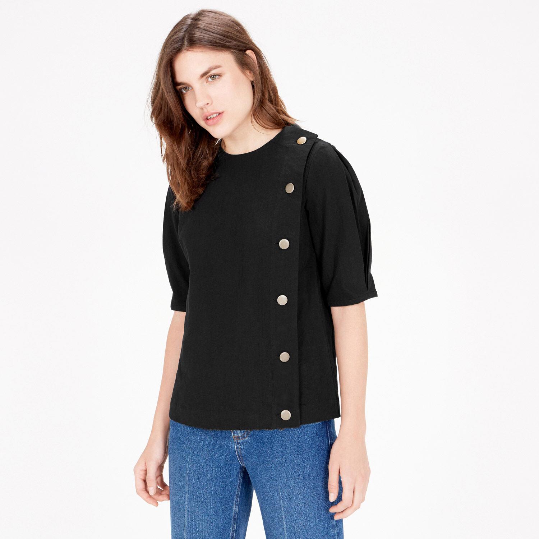 Warehouse, Asymmetric Button Top Black 1
