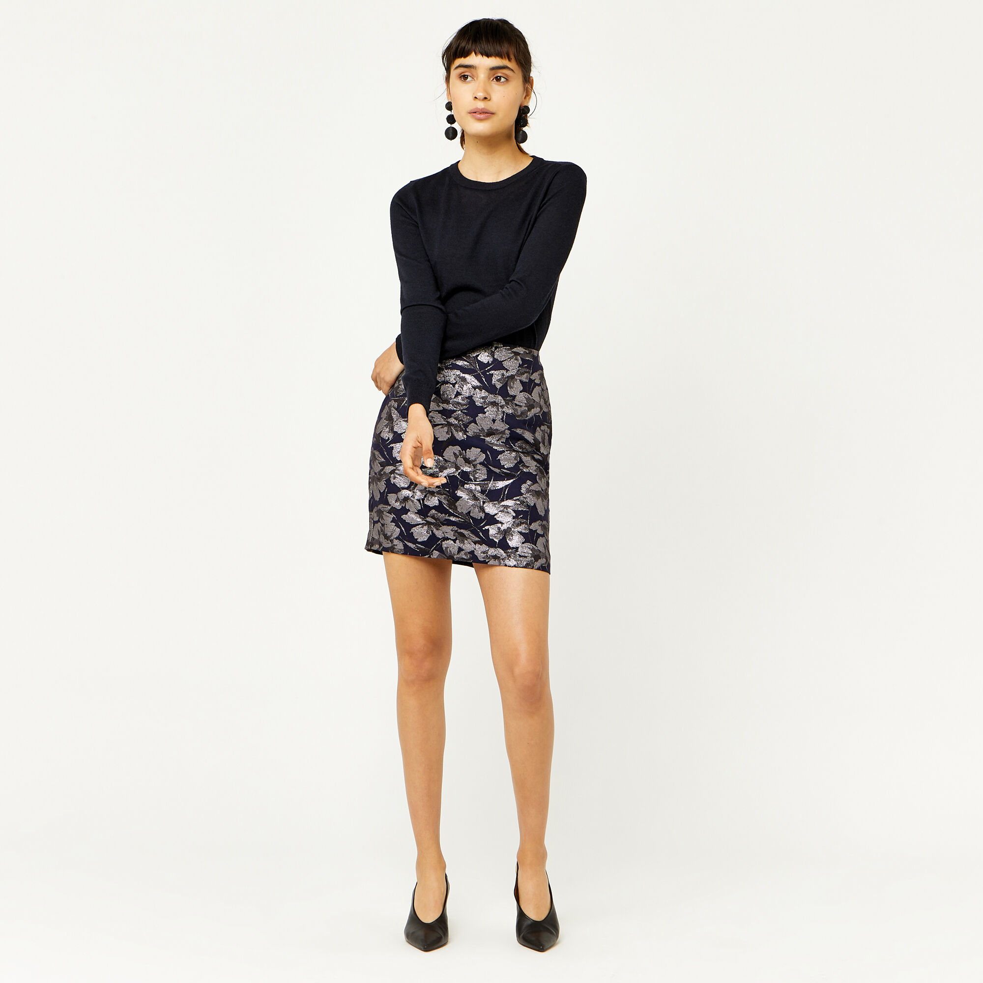 Warehouse, FLORAL JACQUARD PELMET SKIRT Multi 1