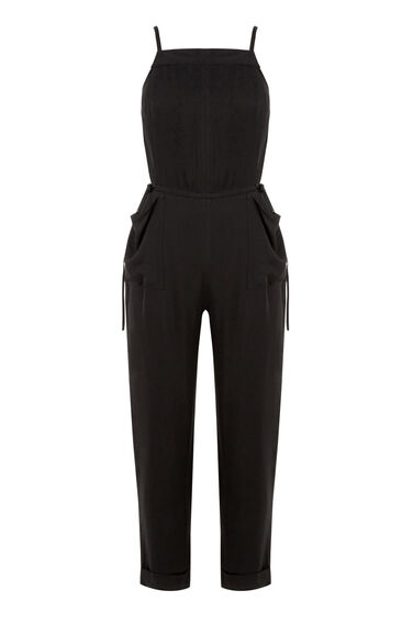 Warehouse, UTILITY DRAWSTRING JUMPSUIT Black 0